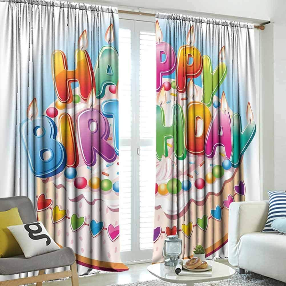 Amazon Com Suzm Birthday Decorations For Kids Light Blocking Curtian Cartoon Happy Birthday Party Image Cake Candles Hearts Print Decor Simple Balcony Multicolor W108 X L84 Inch Home Kitchen