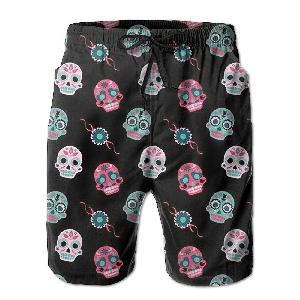 Men's Beach Shorts Skulls Elastic Waist Trunk Quick Dry Swim Board Short With Pockets kalund