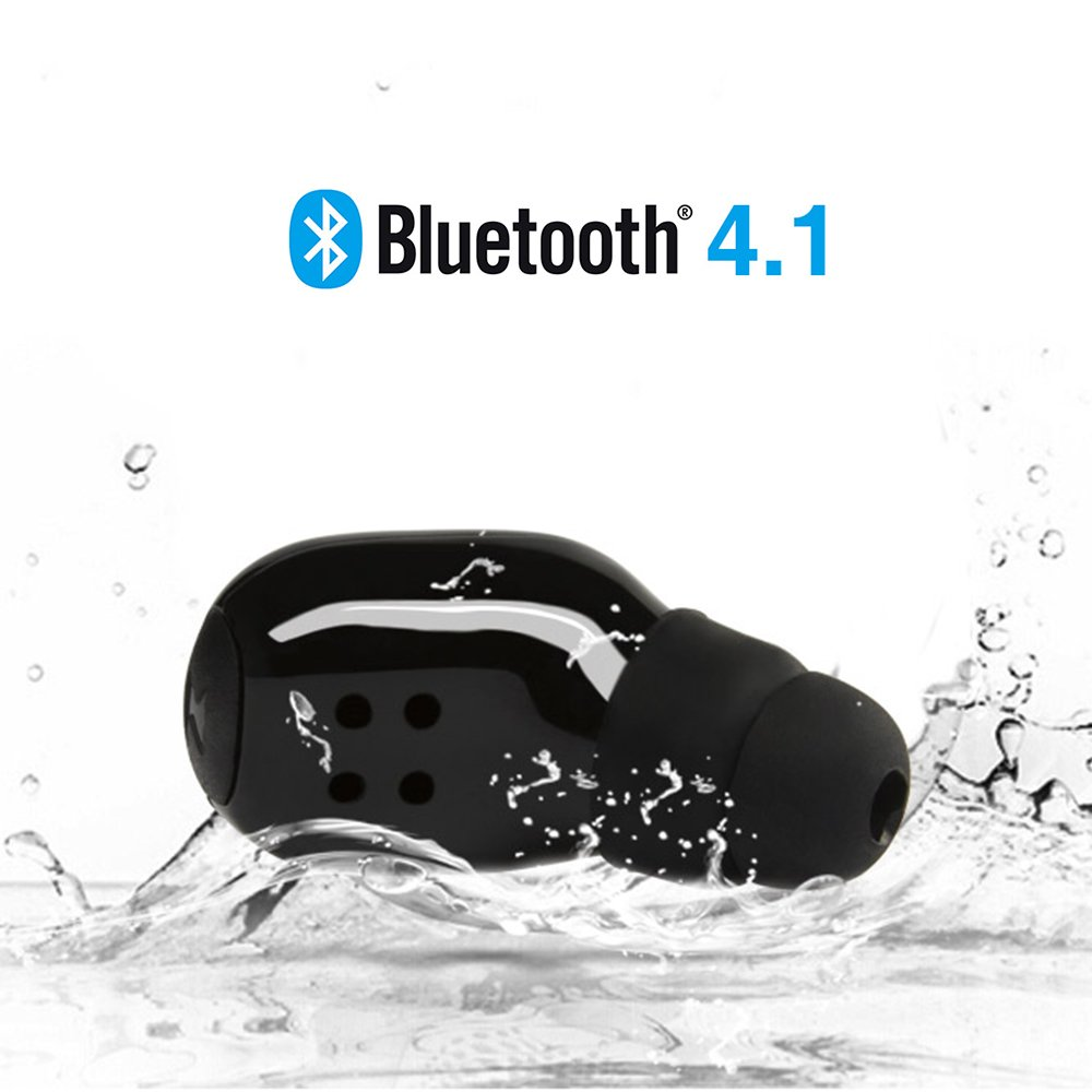 ElementDigital Bluetooth Earbud Mini Wireless Earpiece Headset in-Ear Noise Reduction Headphone Sweatproof Bluetooth Earphone with USB Charging Cable for iPhone iPad Samsung Black