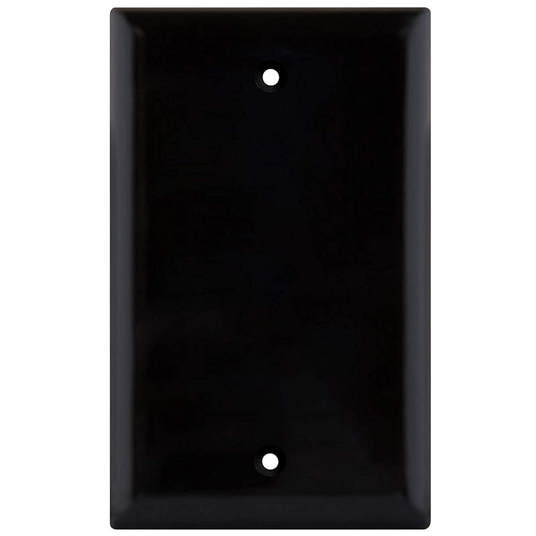 ブランクウォールプレートカバー 1ギャングフェースプレート サーモプラスチック/ナイロンコンセントカバー 未使用電話ジャック 電気ボックス レセプタクル 電気コンセント用 ホワイト 10個パック ホワイト B8801 B07JN6XW8Z ブラック 1 ブラック