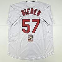 $199 » Autographed/Signed Shane Bieber Cleveland White Baseball Jersey JSA COA