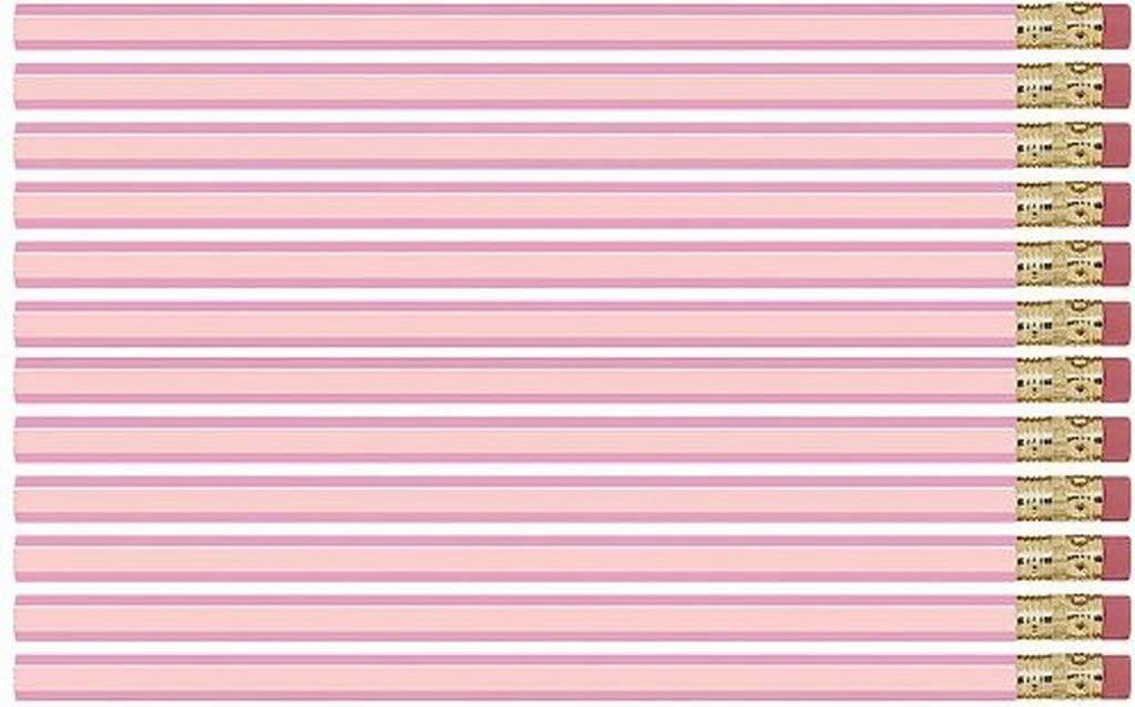 Pastel Pink Hexagon #2 Pencil, Eraser. 36 Pack. Express Pencils