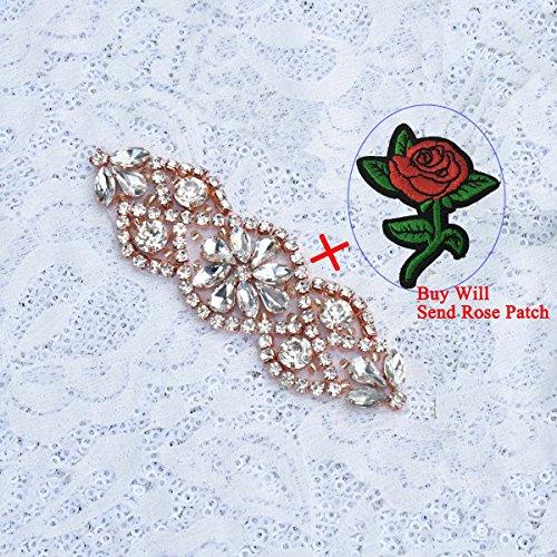 LQIAO Best 20pcs Rose Gold Rhinestone Applique Wedding Dress Diamante Applique with Crystal Pearl Applique for Bridal Sash Belt, Bridal Applique, Wedding applique, Wedding Belt Decora - Ra4004