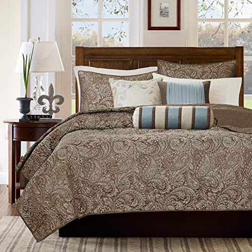 Madison Park Aubrey 6 Piece Quilted Coverlet Set, Blue, Cal King, King King (Thick Bedspreads Quilted)