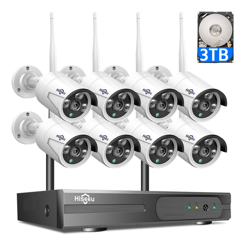 3TB HDD Pre-Install 8 Channel HD 1080P Wireless IP Camera System/IP Security Camera System 8Pcs 2.0 Megapixel 1080P Wireless IR Bullet Camera,Indoor/Outdoor,WiFi 8CH Home Security System HisEEu by Hiseeu