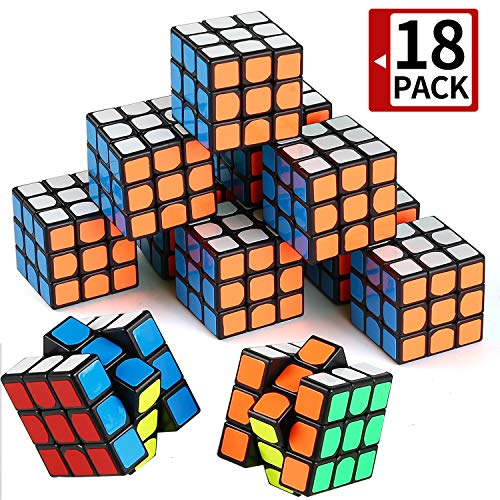 Mini Cube, Puzzle Party Toy(18 Pack), Eco-Friendly Material with Vivid Colors,Party Favor School Supplies Puzzle Game Set for Boy Girl Kid Child, Magic Cube Goody Bag Filler Birthday -