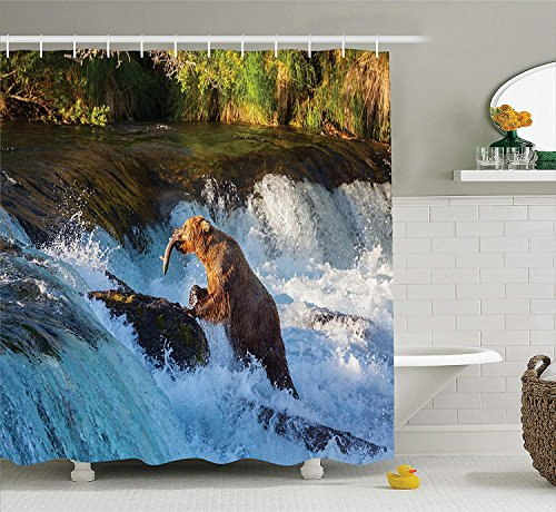Dolphin Waterfall (Keke's Home Natural Large Bear by A Rock in Alaska Waterfall Huntiing Fishes, Polyester Fabric Mildew Proof Waterproof Cloth Shower Room Decor Shower Curtains,36