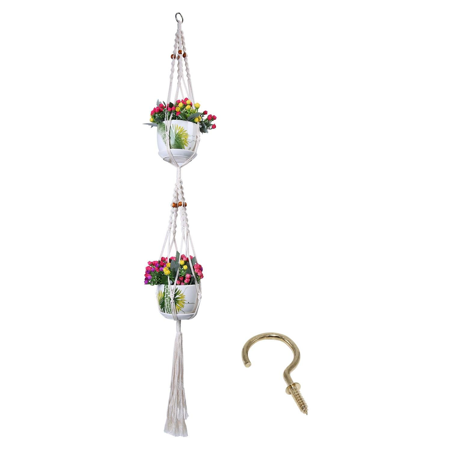 Umiwe Macrame Double Plant Hanger with Plant Hook, 4 Legs Indoor Outdoor Patio Deck Ceiling Plant Holder with Beads 57 Inch