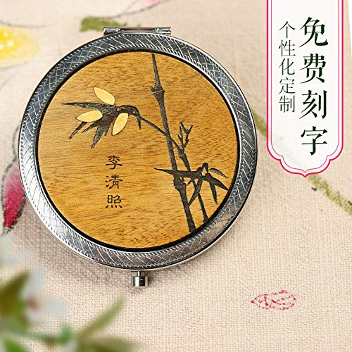 Mahogany small round mirror portable portable mirror girl red sandalwood gift pocket -