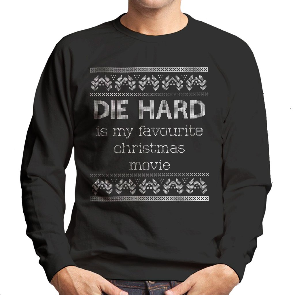 Cloud City 7 Die Hard is My Favourite Christmas Movie Knit Pattern Mens Sweatshirt