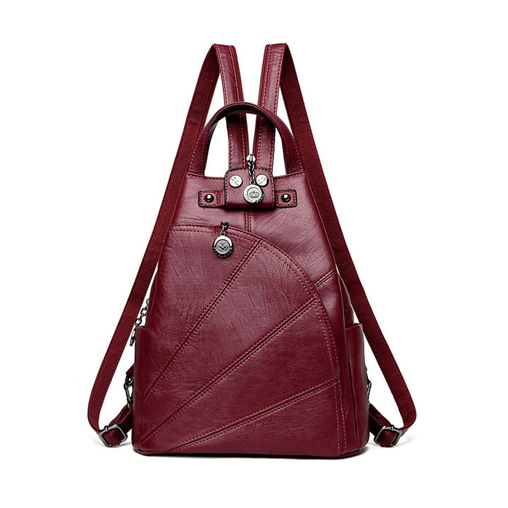 Artwell Fashion Backpack Purse Convertible Crossbody Shoulder Bag Leather Handbag for Lady (Wine red)