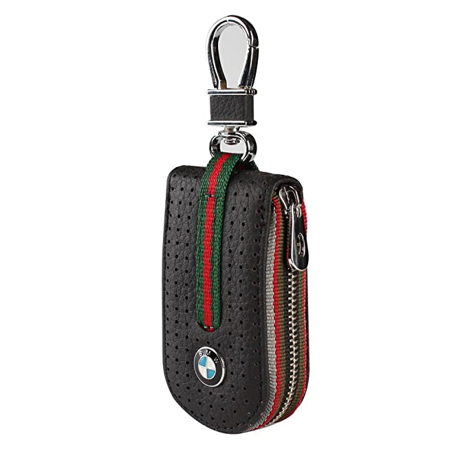 Leather Car Smart Key Chain Universal Key Holder Bag Black Zipper Case Cover Wallet Bag Shell Fob Ring (BMW)