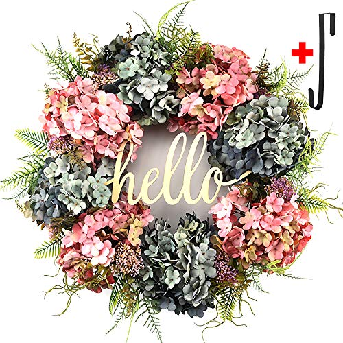 Hydrangea wreaths for front door,Outdoor summer wreaths for front door,Fall spring handmade Hello Wreath for Front Door,Farmhouse Wreath ,Rustic Wreath,Grapevine Wreath,Window Decoration (20 inches)]()