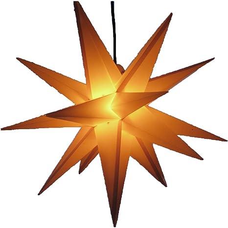 beleuchteter Stern 55-60 cm Adventsstern Weihnachtsstern Leuchtstern Faltstern wetterfest Au/ßenstern gelb