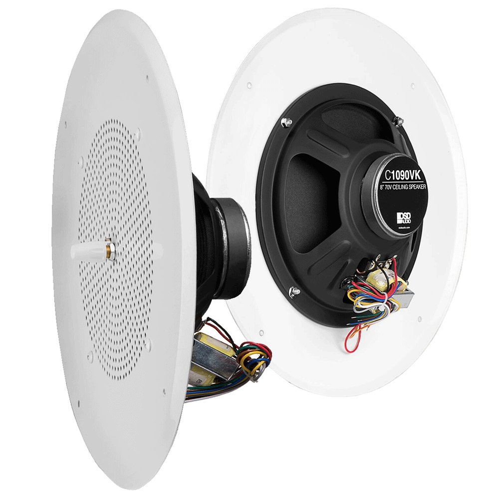 """Amazon.com: OSD Audio C1090 3-Pack - Commercial 8"""" 70V Ceiling Speaker (5W,  2.5W, 1.25W, 0.63W, 0.32W Taps) with Front Volume Control 12"""" Grill: Home  Audio ..."""