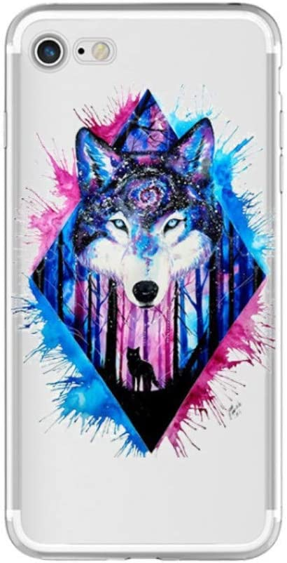 Freesiom Coque Iphone 7 8 Silicone Transparente Motif Loup Chat