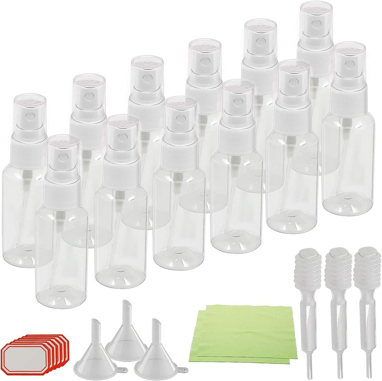 12 Piezas de cuentagotas de pulverizador de KAKOO del Frasco plástico y pequeño para Salir, Viajar, Maquillaje cosmético, perfuma con 3 Embudo y 30 Etiqueta de Pegatina