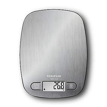 Taurus Easy Inox - Báscula de cocina digital de capacidad 5 kg, función tara, 4 sensores de precisión, color plateado: Amazon.es: Hogar