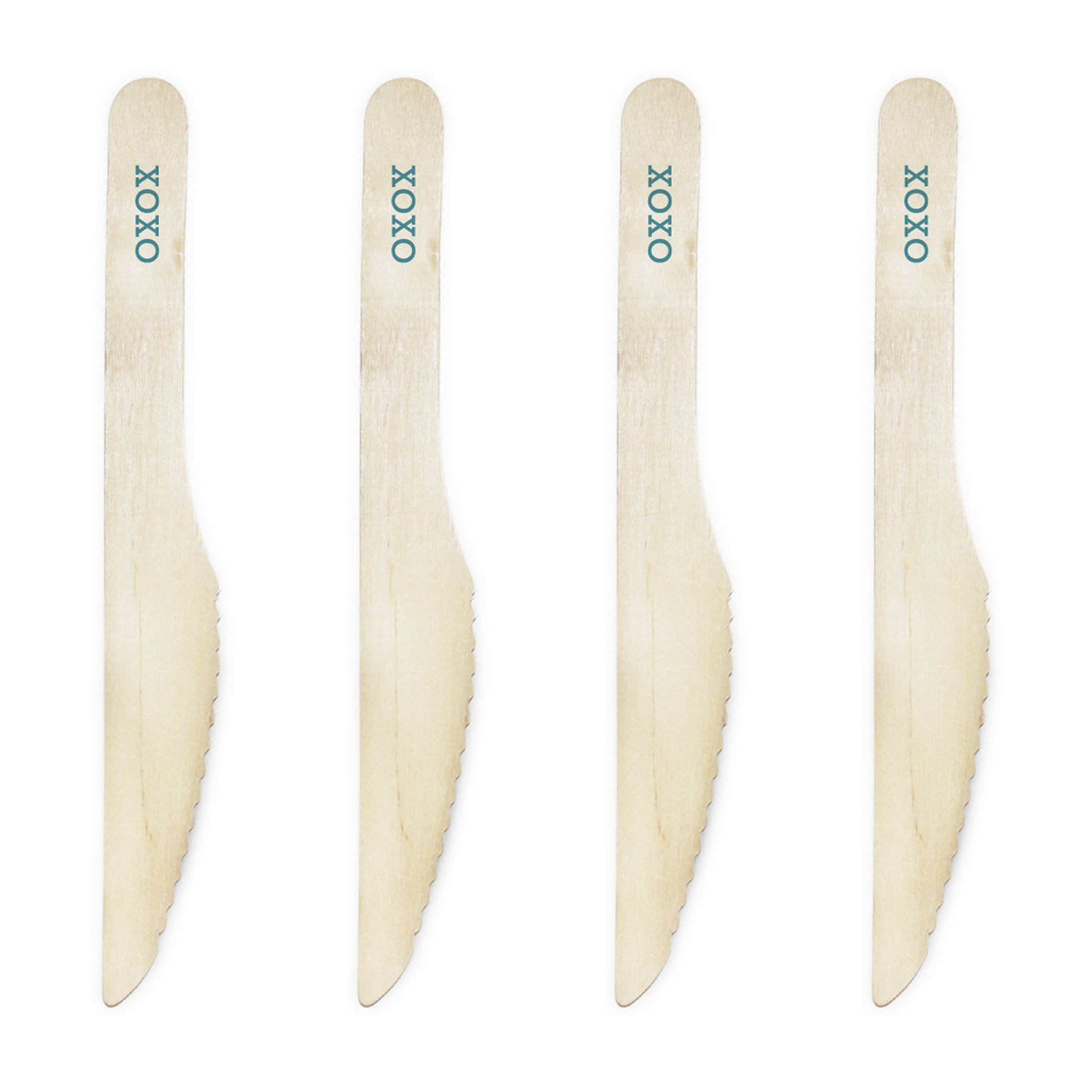 Dress My Cupcake Natural Wood Candy 200-Pack Buffet Knives DIY Kit, XOXO, Aqua