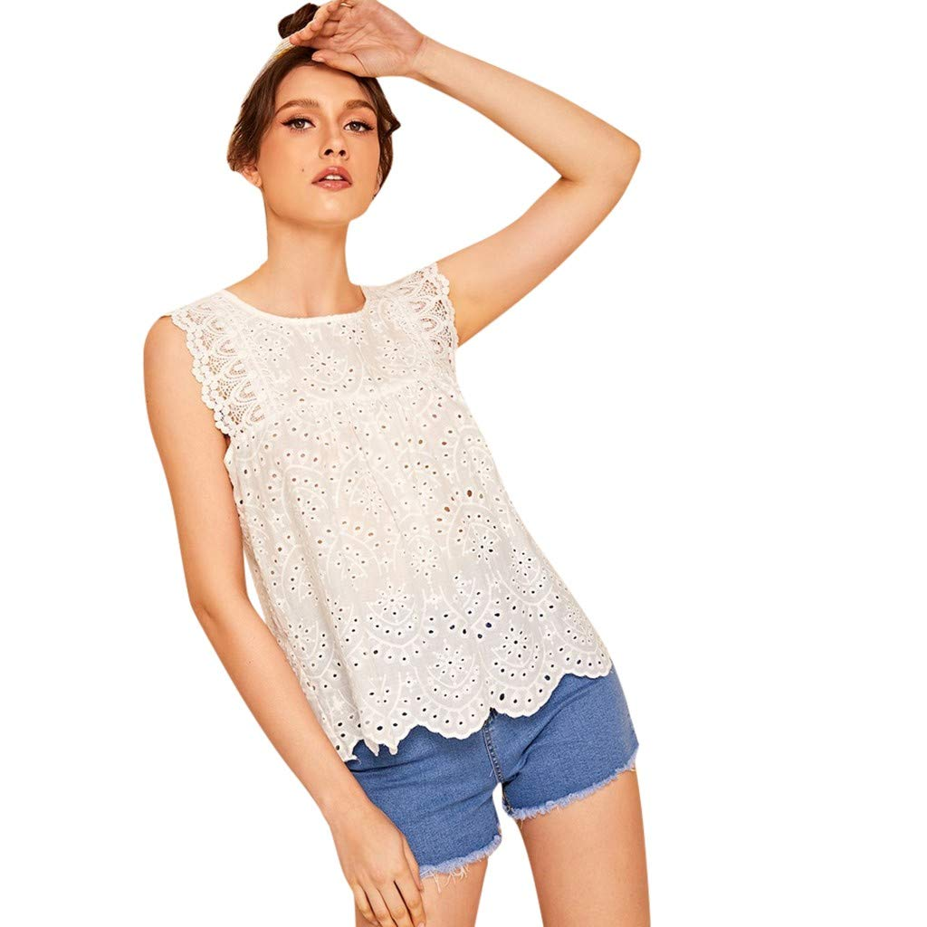 c8366eda90 Amazon.com: gugs Women Fashion Tops Solid Color O-Neck Sleeveless Vest Lace  Hollow Tops Lace Blouse Casual Tee Shirts Tunic Tops (XL, White): Toys &  Games