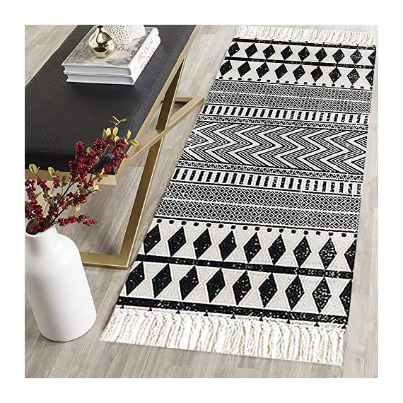 "HEBE Cotton Area Rug Set 2 Piece 2'x3'+2'x4.2' Machine Washable Black and Cream White Hand Woven Cotton Rug with Tassels Cotton Area Rug Runner for Living Room, Kitchen Floor, Laundry Room - Cotton Rugs Size: Hand Woven cotton tassel rugs set 2 pieces, small cotton accent rug measures 2'x3'(60*90cm) and long cotton runner rug measures 2'x4'3""(60x130cm). Durable Cotton Rugs: Our cotton rug well made by 100% Natural Cotton material.Great water absorption,protect your floors from moisture, stains and scratches,give soft and breathable touch when people walk on them. Classic Design: Cotton rugs designed with geometric patterns and extra snazzy knotted fringe tassels on each side which make them seem simple. Black and cream white color that will make it never go out of style and long time stay on the floor and also match all themed room decor. - runner-rugs, entryway-furniture-decor, entryway-laundry-room - 613%2BSBPF3OL. SS570  -"