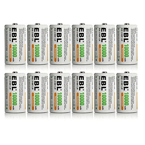 12 Pack EBL D Size D Cell 10,000mah High Capacity High Rate NiMH Rechargeable Batteries