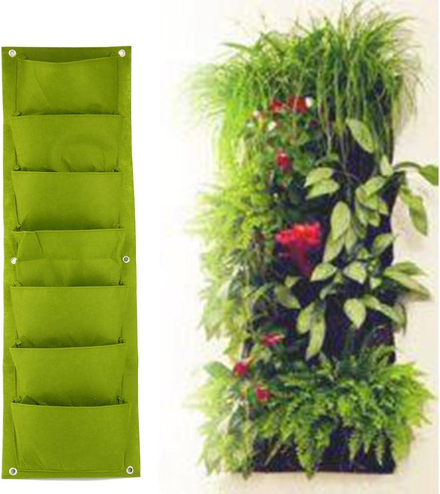Espeedy Bolsa de cultivo de flores para plantar,Jardinera verde vertical Plantador montado en la pared Flower Grow Bag 7 Pocket