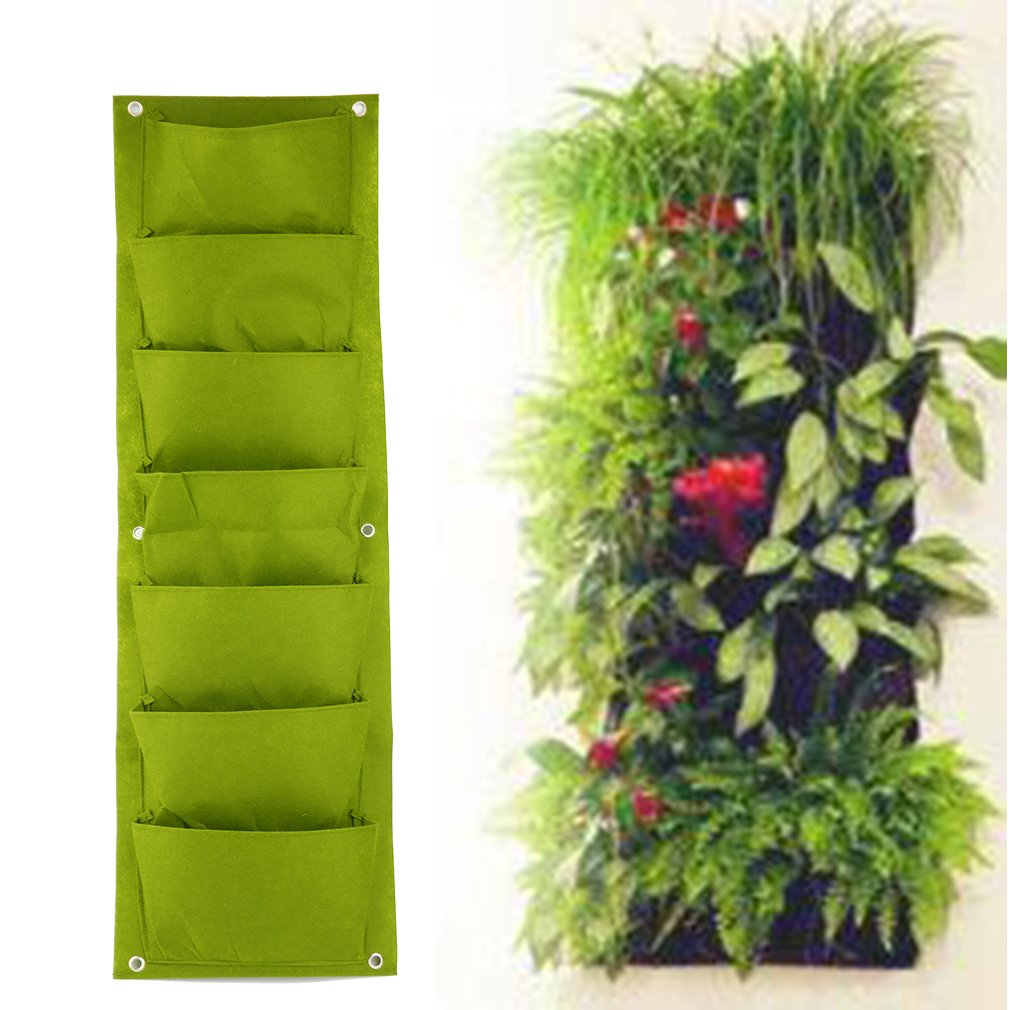 FairytaleMM 96 * 30 Centimetri Verde Giardino Verticale piantatrice a Parete piantare Flower Grow Bag 7 Tasca vegetale Vivente Borsa da Giardino casa Forniture, Verde