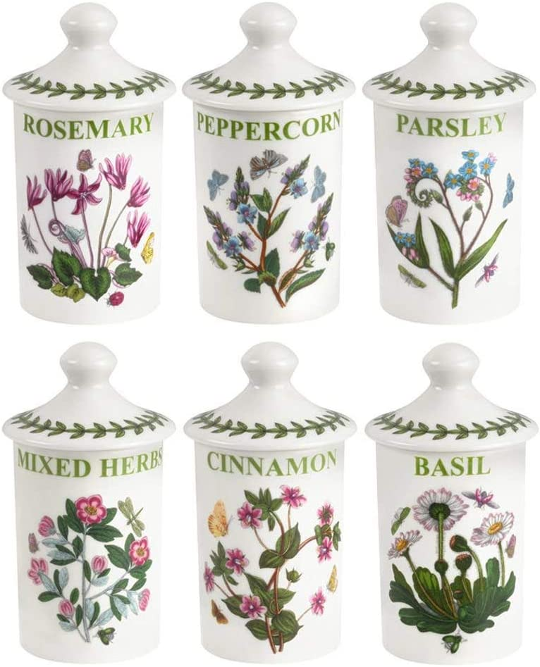 Portmeirion Botanic Garden Set of 6 Assorted Spice Jars