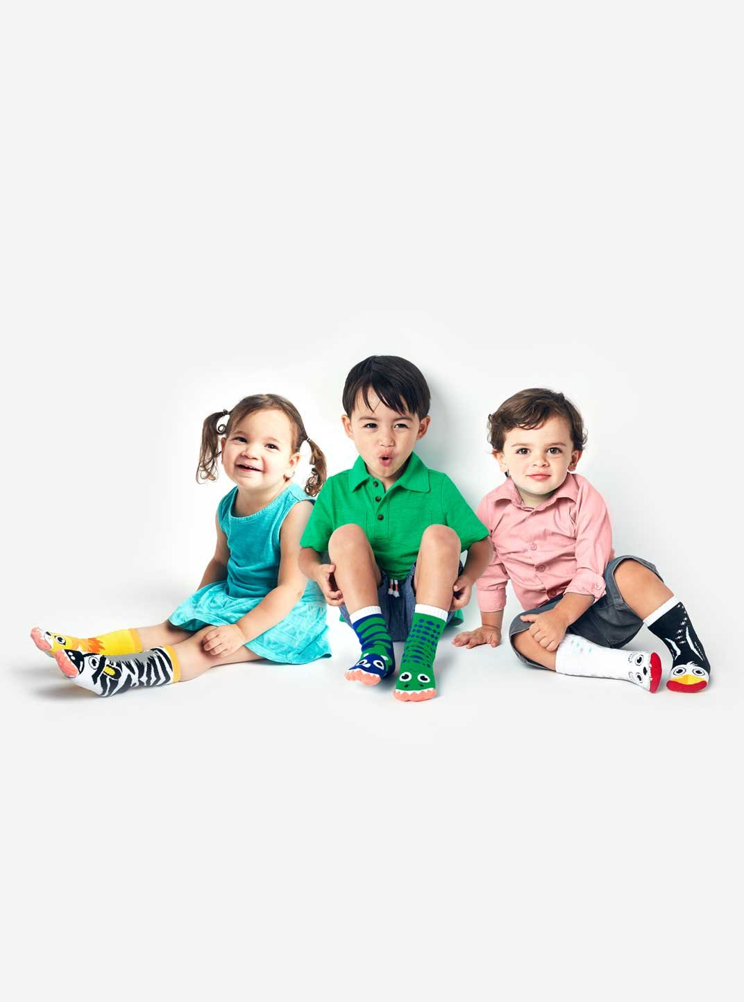 Lion and Zebra, T-Rex and Triceratops, Polar Bear and Penguin - Toddler Sock Set - Mighty Mates Mismatched Friends 3-Pack by Pals Socks (Image #3)
