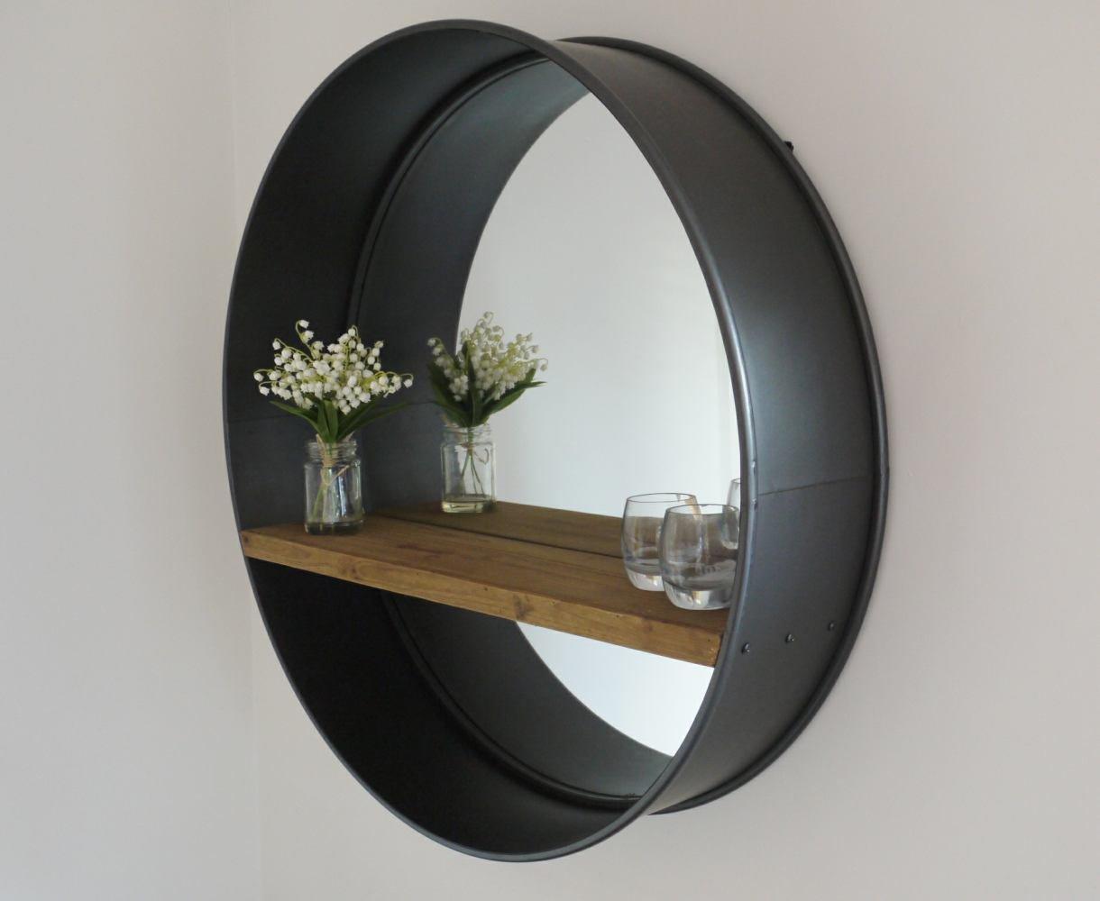 Retro Industrial Round Mirror With Shelf Amazoncouk Kitchen Home