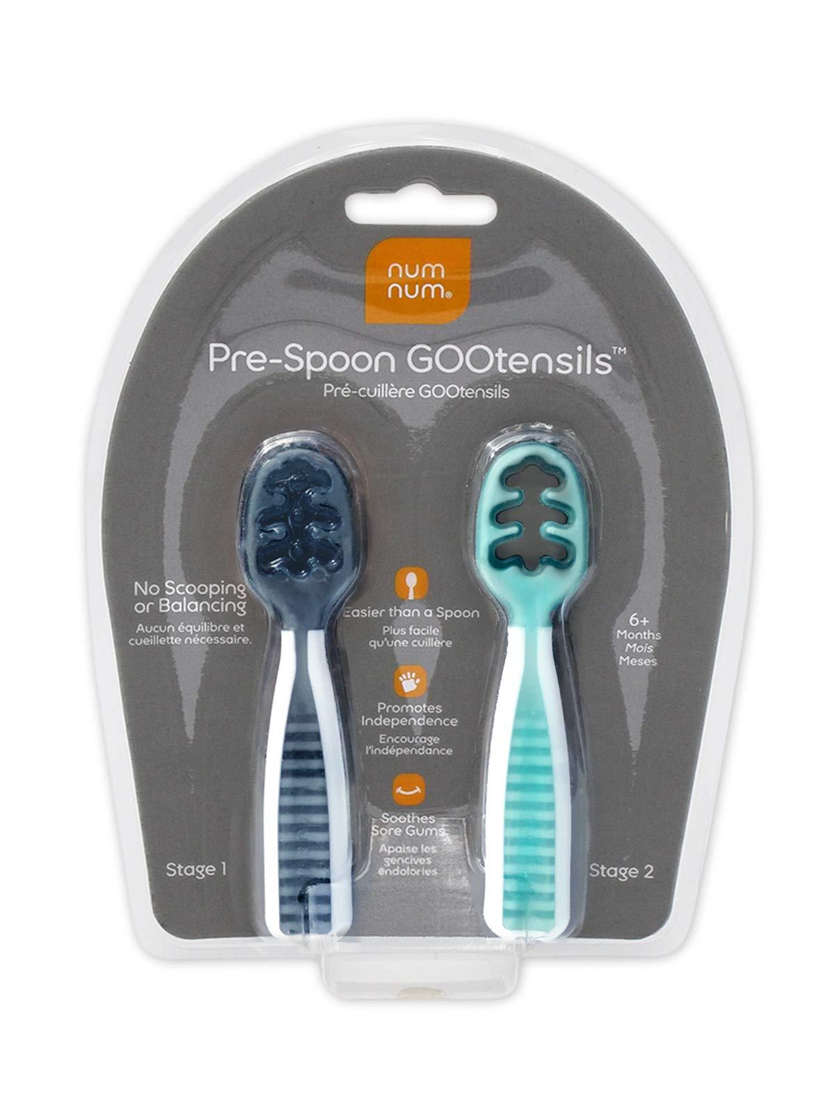 NumNum Pre-Spoon GOOtensils | Dual-Stage Set (Gray/Green)
