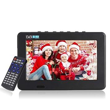 11,6 Pulgadas TV portátil, LED pequeña Televisión con TDT DVB-T/T2 Dos Altavoz TV Digital con 1500 mAh baterías Recargables y Mando a Distancia para ...