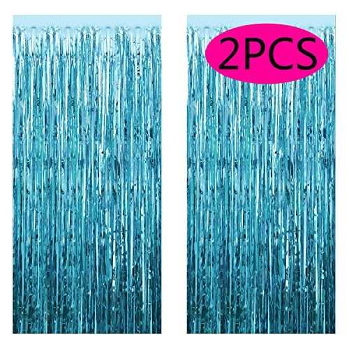 FECEDY 2pcs 3ft x 8.3ft Light Blue Metallic Tinsel Foil Fringe Curtains Photo Booth Props for Birthday Wedding Engagement Bridal Shower Baby Shower Bachelorette Holiday Celebration Party -