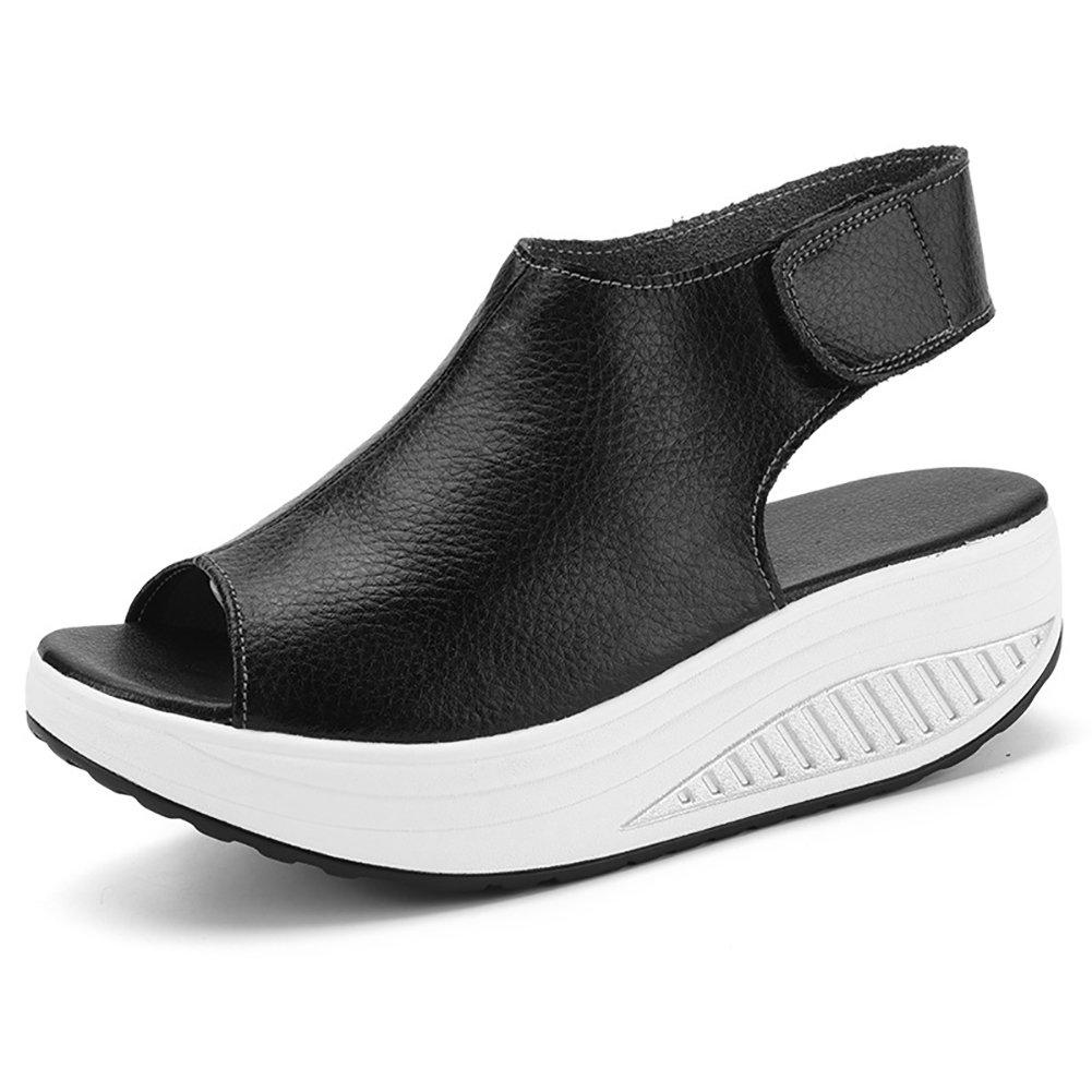 Paris Hill Women's Platform Heeled Bootie Shoes Shape Ups Walking Wedges Sandals 04PHS002 Black 10