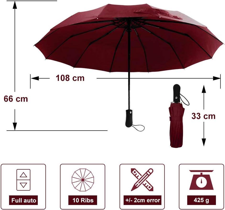 Parapluie Pliant Automatique Coupe-Vent et imperm/éable /à leau Parfait pour des Hommes et des Femmes Parapluie de Voyage Compact de 10 Nervures avec Bouton Ouvert et /étroit Automatique