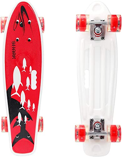 YF YOUFU 22 23 Inch Beginner Skateboard for Girls Boys, Plastic Deck Cruiser Complete Mini Skateboards for Beginners Youth Adults