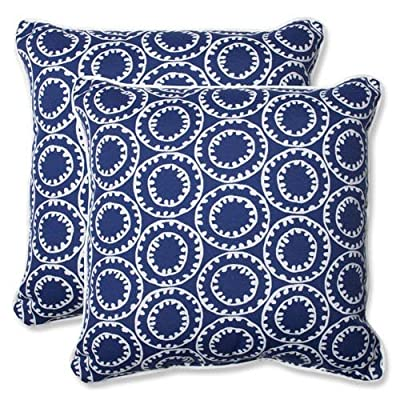Pillow Perfect Outdoor Ring a Bell Throw Pillow, 18.5-Inch, Navy, Set of 2 - Includes two (2) outdoor pillows, resists weather and fading in sunlight; Suitable for indoor and outdoor use Plush Fill - 100-percent polyester fiber filling Edges of outdoor pillows are trimmed with matching fabric and cord to sit perfectly on your outdoor patio furniture - patio, outdoor-throw-pillows, outdoor-decor - 613%2BVJyWnNL. SS400  -