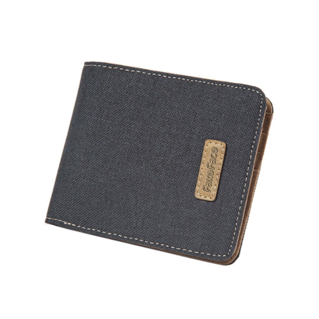 Liying Men Fashion Business Casual Denim & Leather Flat Wallet Bifold Coin Purse Card Holder Money Clip
