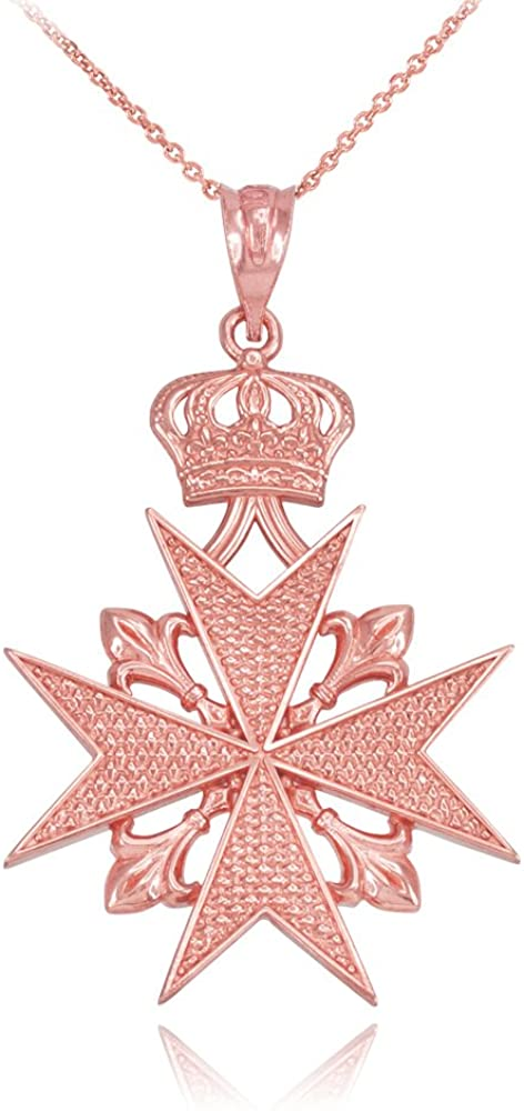 10k Rose Gold Maltese Cross Russian Imperial Order Pendant Necklace