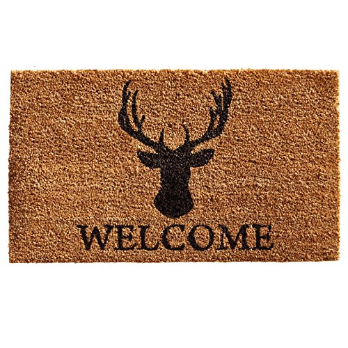 Home & More 121471729 Deer Welcome Doormat Natural/Black, 17