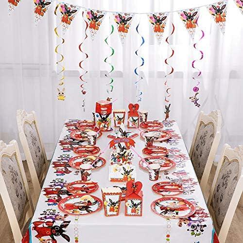 Set de 92 Piezas Plato de Bing Bunny para Fiestas Incluye Pancarta Platos Cubiertos Servilletas Mantel Cucharas para Fiesta Baby Shower Juego de Cubiertos Desechables