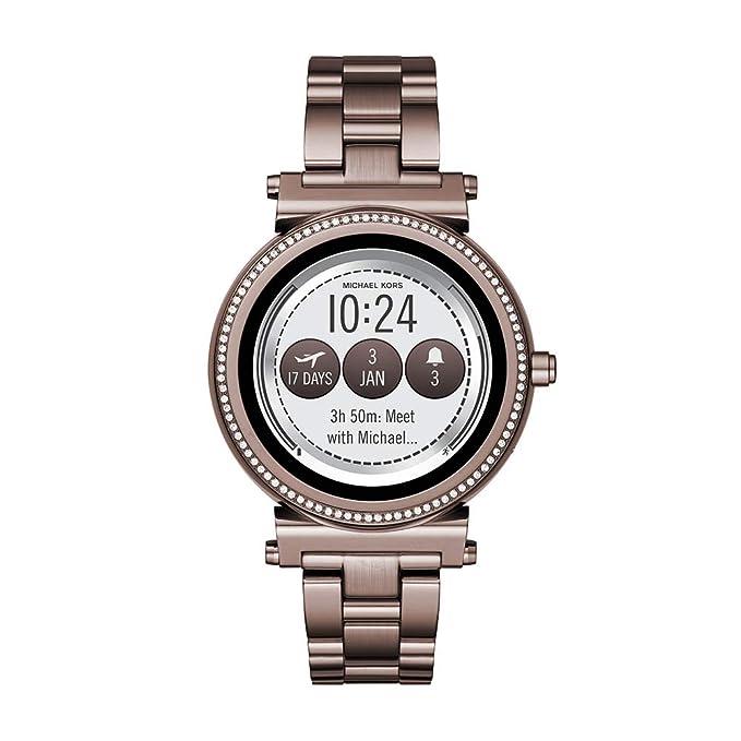 Michael Kors - Reloj Inteligente de Cuarzo para Mujer, Chapado en Acero Inoxidable, Color marrón (Modelo: MKT5030): Amazon.es: Relojes