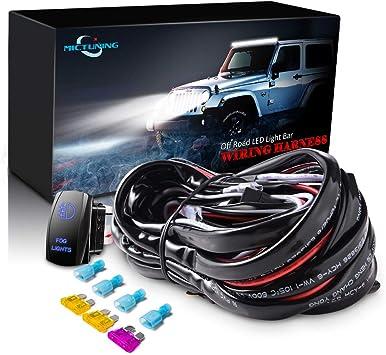 Amazon Com Mictuning Led Light Bar Wiring Harness 40amp Relay Laser Blue On Off Rocker Switch Fog Lights Automotive