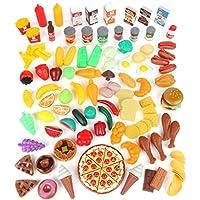Juego de juego de alimentos para niños y alimento de juguete para juegos de imaginación - Juego de cocina de juego de 125 piezas con juegos de alimentos educativos para niños para niños pequeños inspira imaginación - Alimentos plásticos falsos para