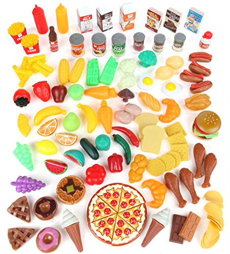Fake Plastic Food (Play Food Set for Kids & Toy Food for Pretend Play - Huge 125 Piece Play Kitchen Set with Childrens Educational Food Toys for Toddlers Inspires Imagination - Fake Plastic Foods for Cooking (Edition 1))