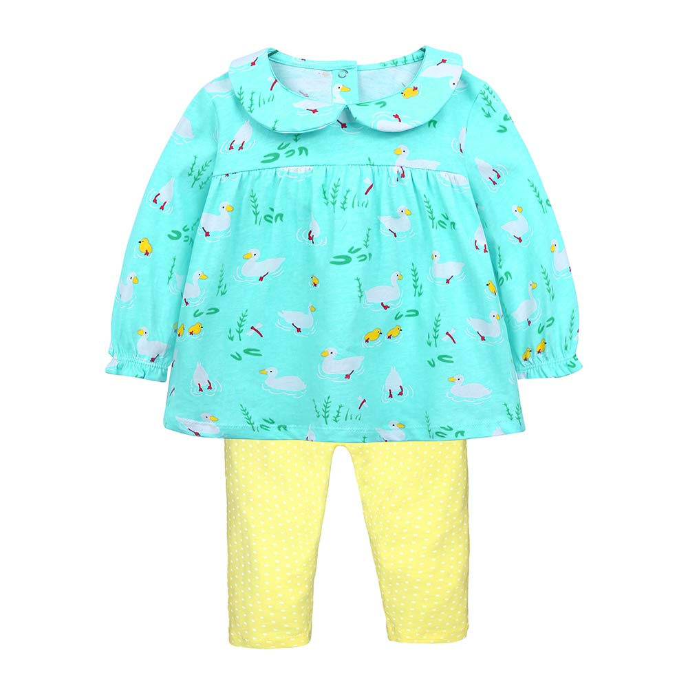 Girls Long Sleeve 2Pcs Cute Outfits Kids Cartoon Duck Print Top+Dot Pants 12M-7T