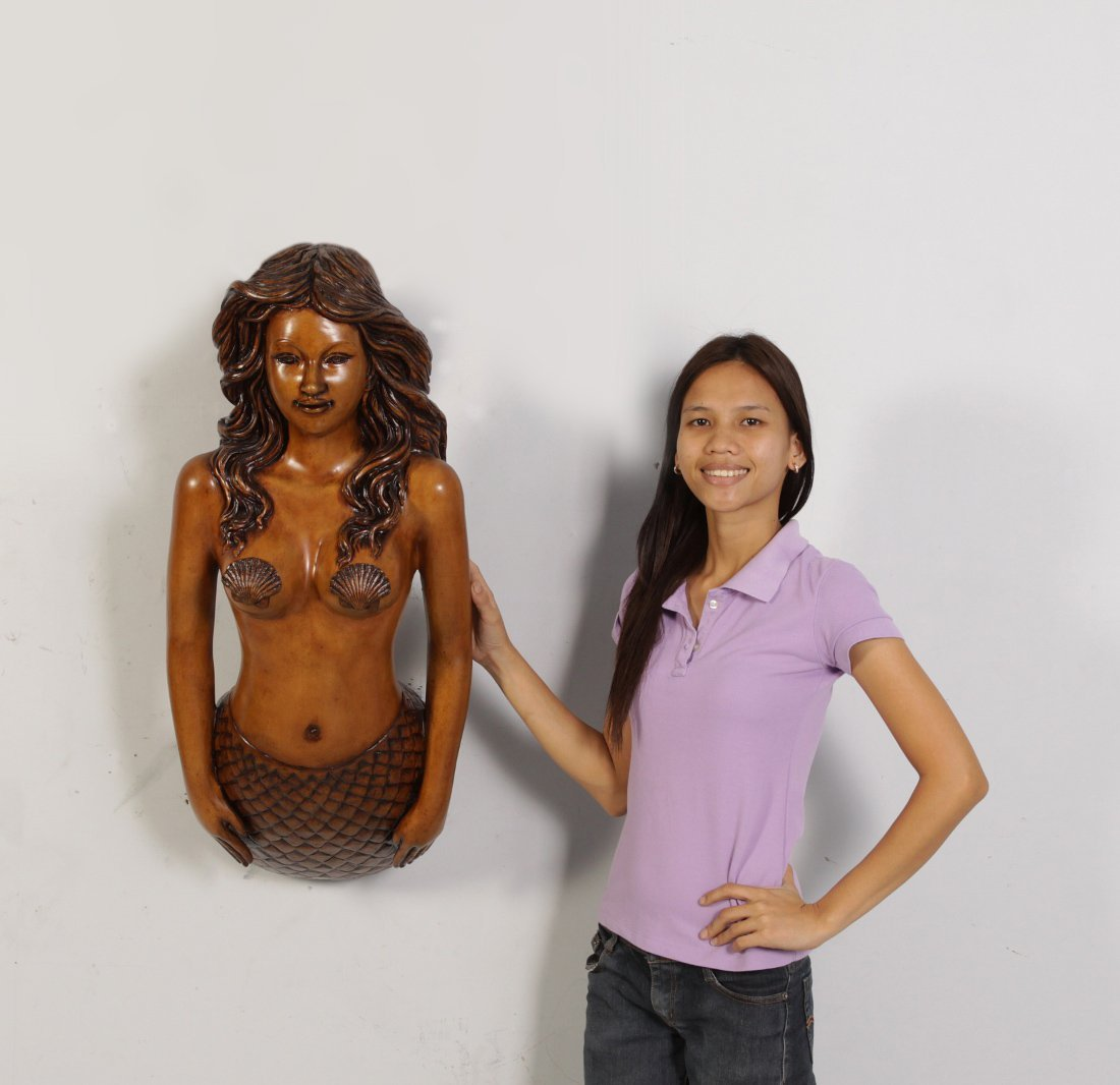 Nautical Tropical Imports 34'' H Life Size One Piece Wood Finish Mermaid Figurehead Wall Mount Large Sculpture by Nautical Tropical Imports (Image #3)