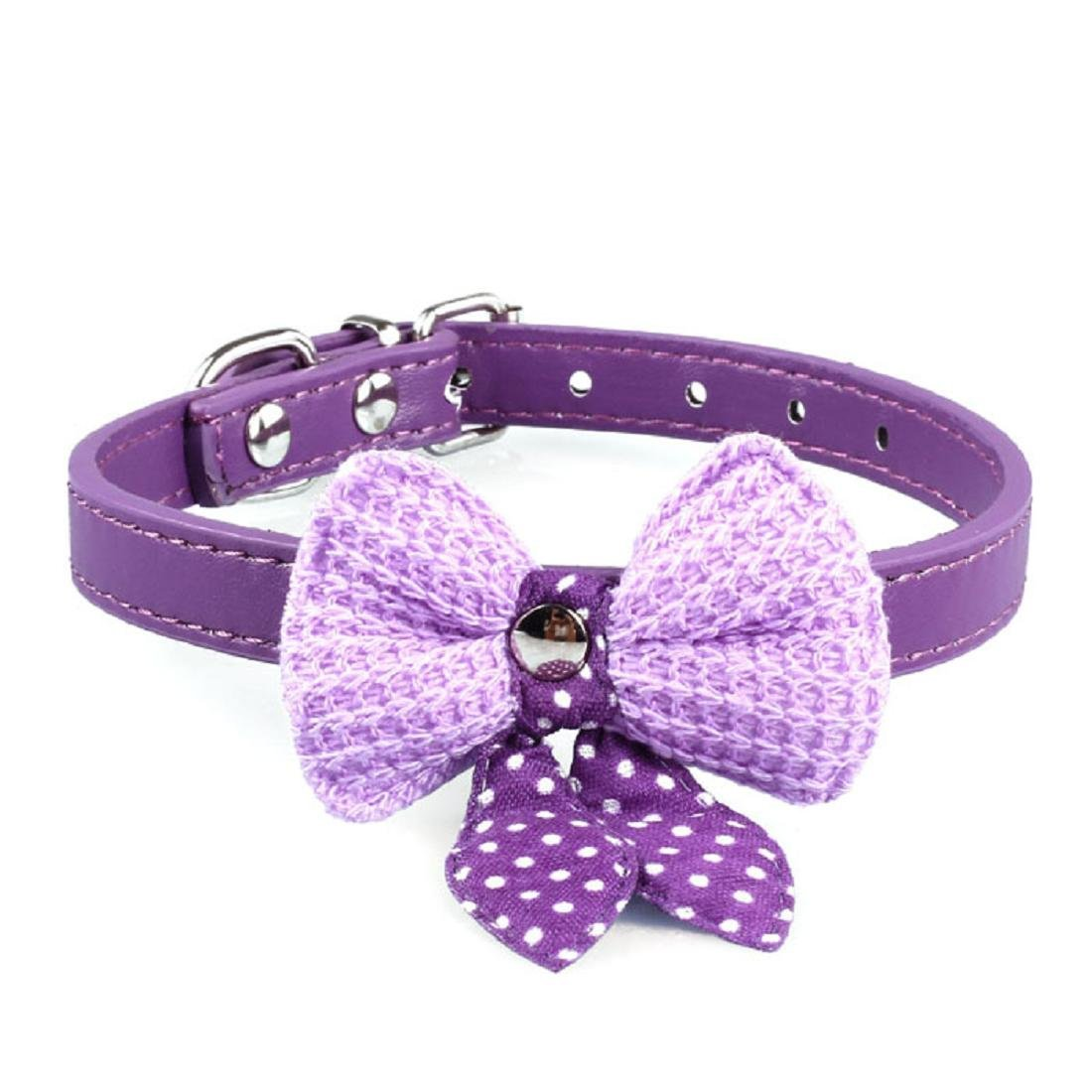 Kinghard Knit Bowknot Adjustable Leather Puppy Pet Collars (Purple)
