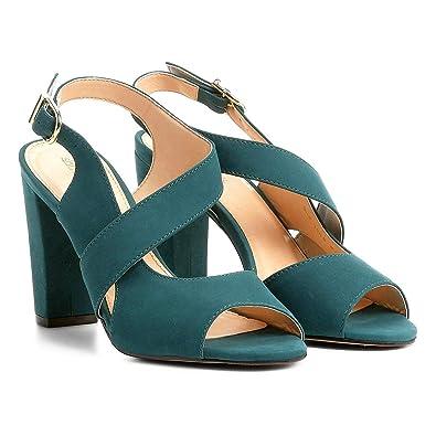 ef926cd9f0 Sandália Couro Shoestock Salto Grosso Feminina - Azul Petróleo - 39